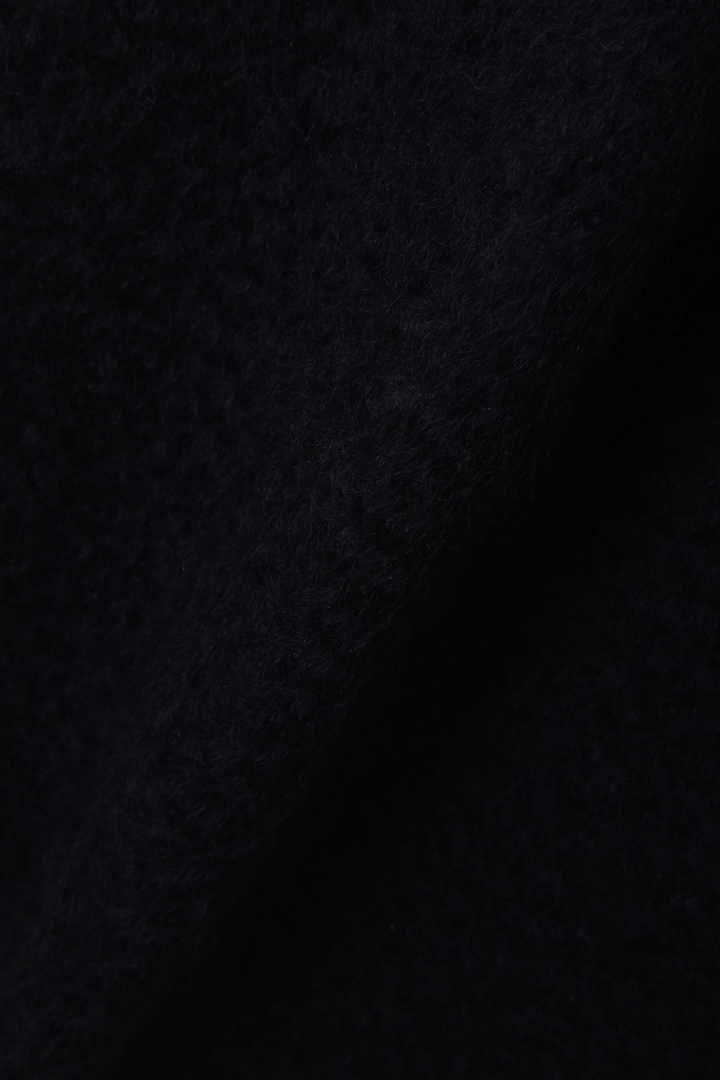 シャギーメルトン素材切り替えノーカラーコート