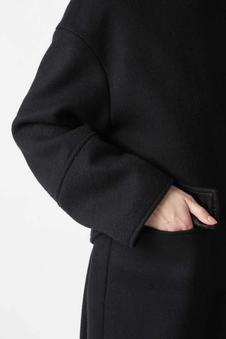エアメルトンノーカラーフラップポケットコート
