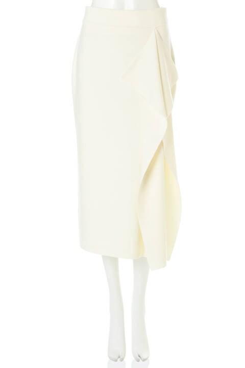 ピュアウールフリル付きニットスカート