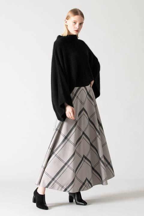 ウーリーチェックフレアースカート