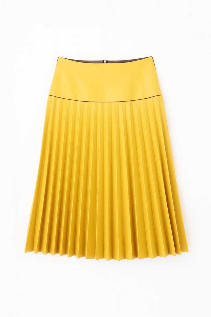 バイカラーEcoレザーボンディングプリーツスカート