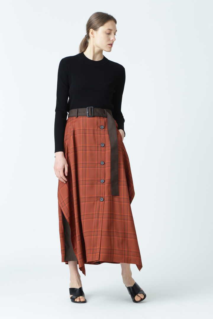 ヴィスコースチェックベルト付きスカート
