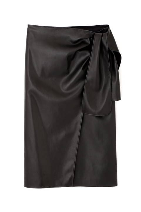 フェイクラムスキンサイドリボンスカート