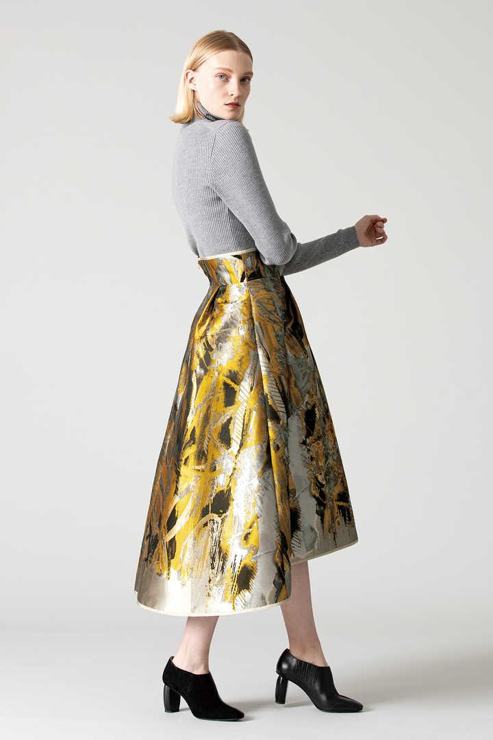 ペインティングジャガードフレアースカート