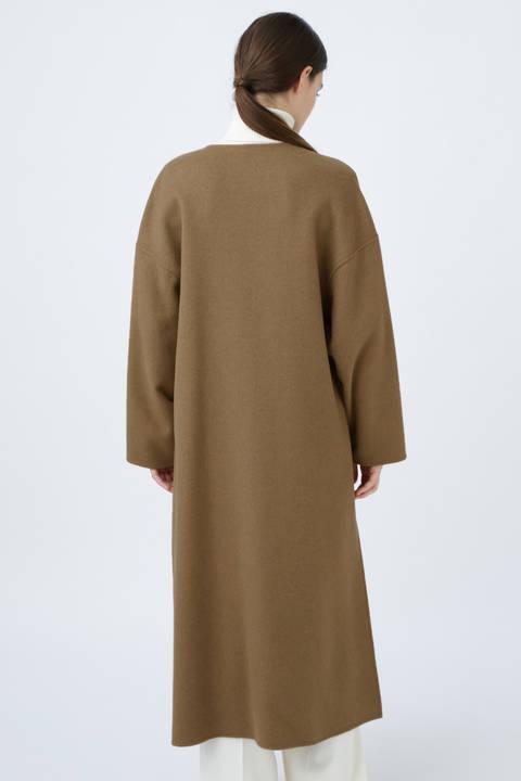 カシミアキャメルノーカラーコート