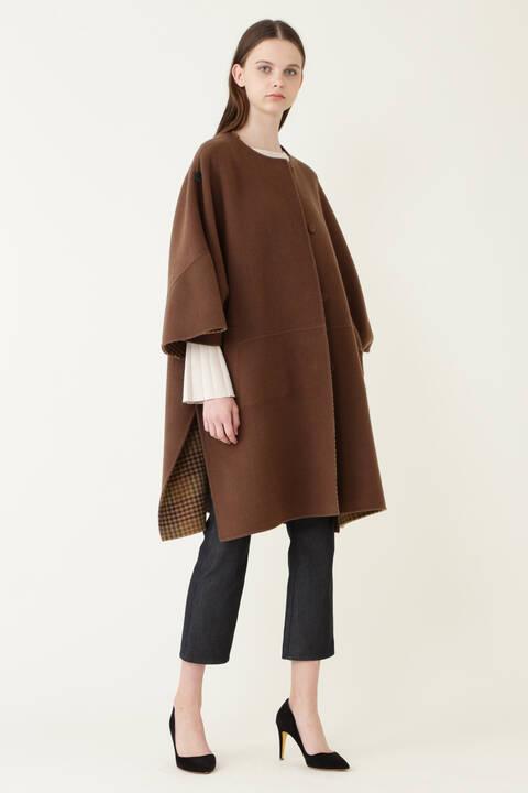《LE PHIL》リバーチェックノーカラーコート