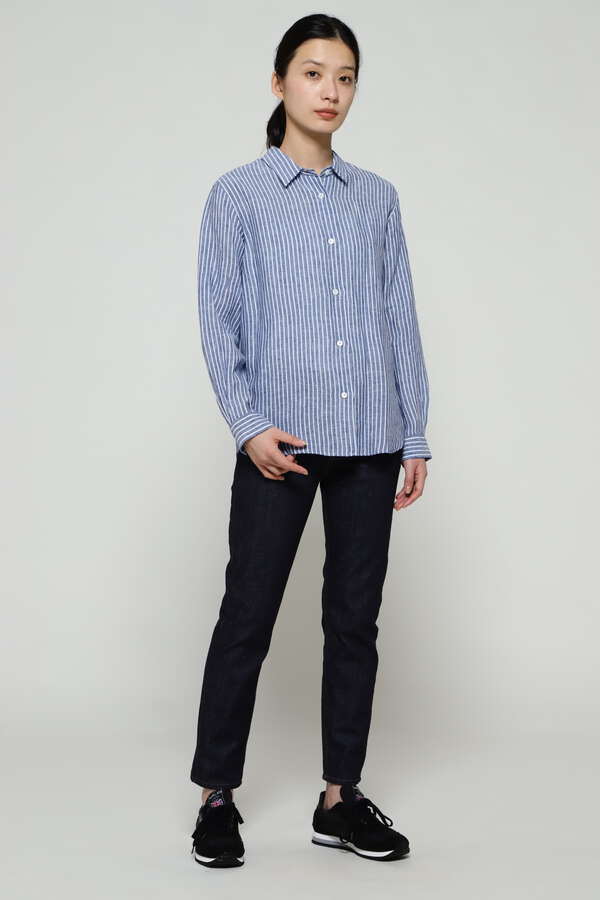 LINEN STRIPE PLAIN SHIRT
