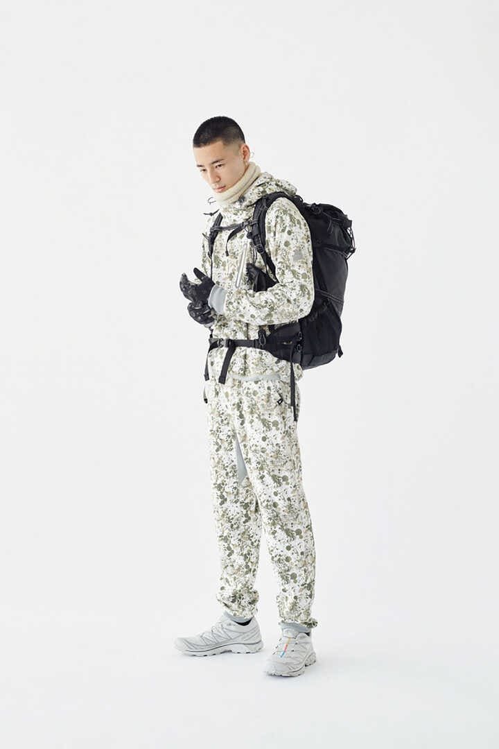 splatter print back nap raising pants