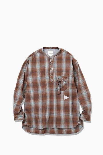 thermonel check band collar shirts(M)