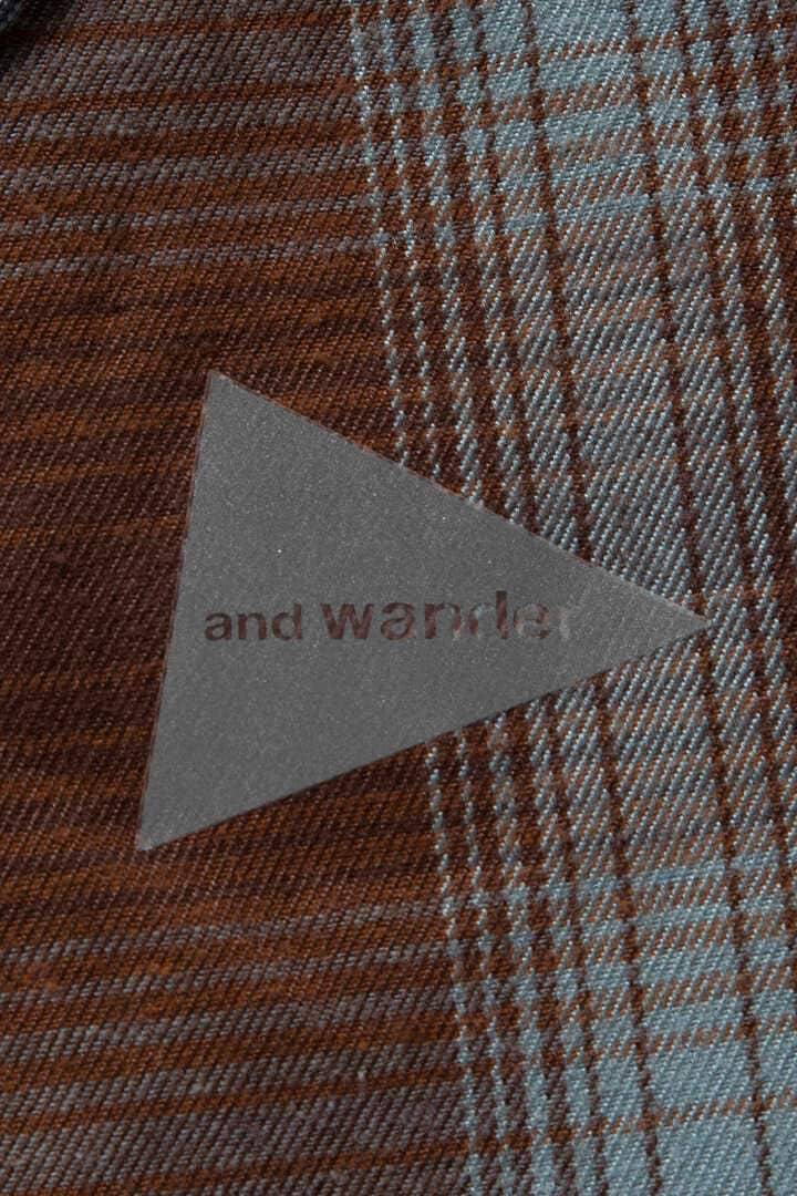 thermonel check collarless shirt (W)