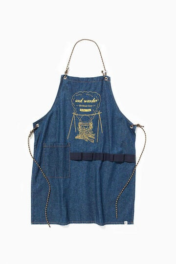 printed denim apron