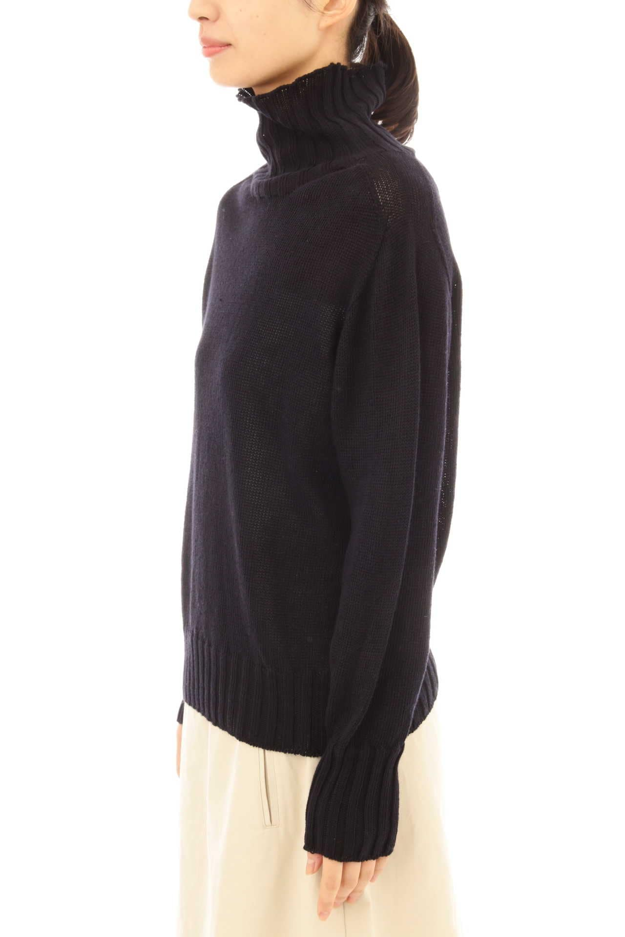 LINEN COTTON WIDE ROLL NECK12