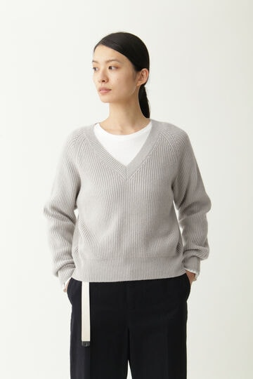 WOOL CASHMERE SILK V NECK JUMP_146
