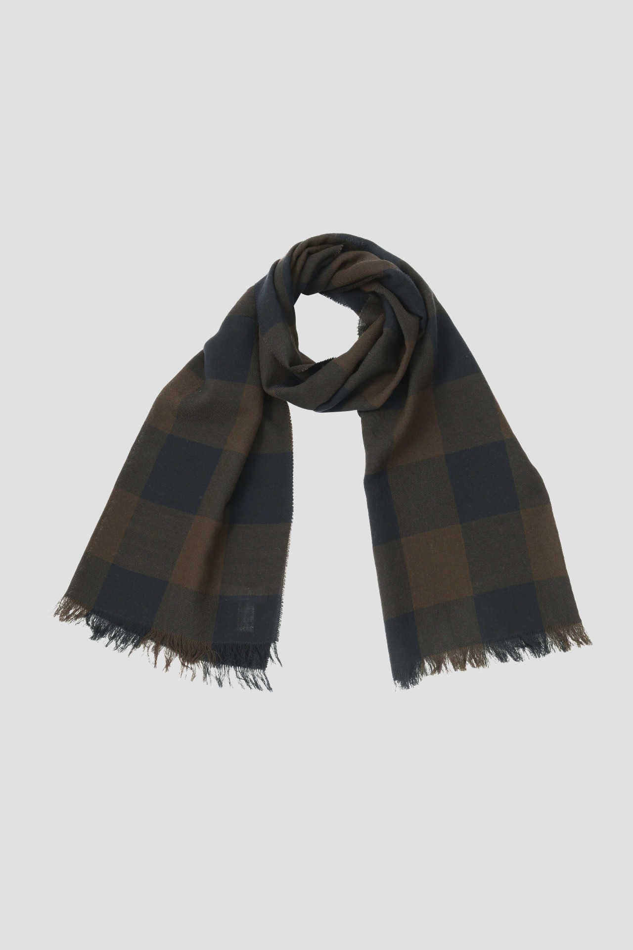 LARGE CHECK WOOL SCARF