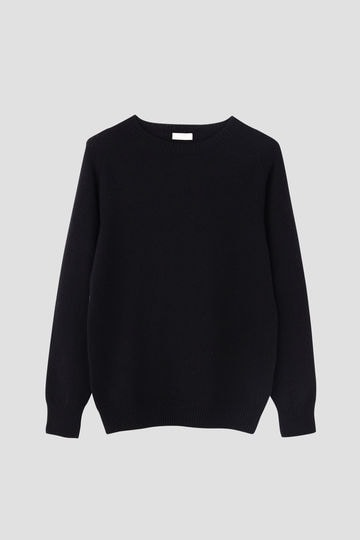 MERINO CASHMERE TWIST SADDLE CREW