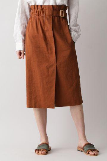 TELA / リネン&コットン ストレッチ ベルテッドスカート