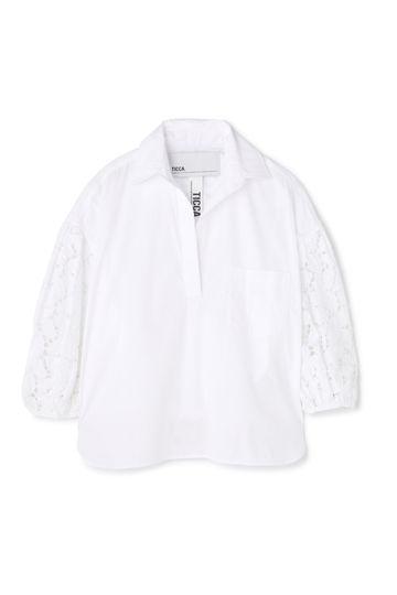 [別注]TICCA / 袖レース スキッパーシャツ