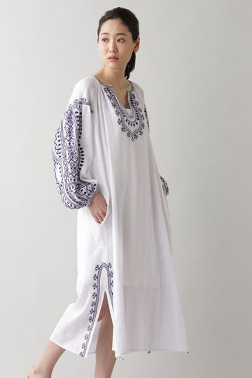 NE QUITTEZ PAS / COTTON RAYON CRAPE EMBROIDERY DRESS