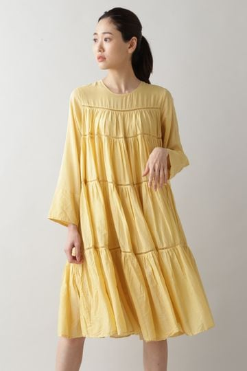 NE QUITTEZ PAS / COTTON VOIL PANEL LONG SLEEVE DRESS