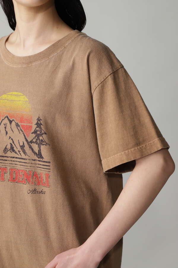 ピグメント染めプリントTシャツ