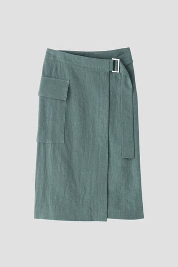 リネン混ラップスカート