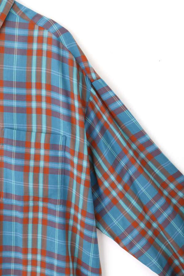 キュプラチェックオーバーシャツ
