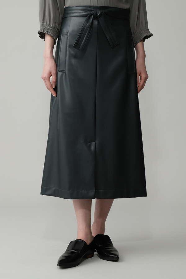 フェイクレザーAラインスカート
