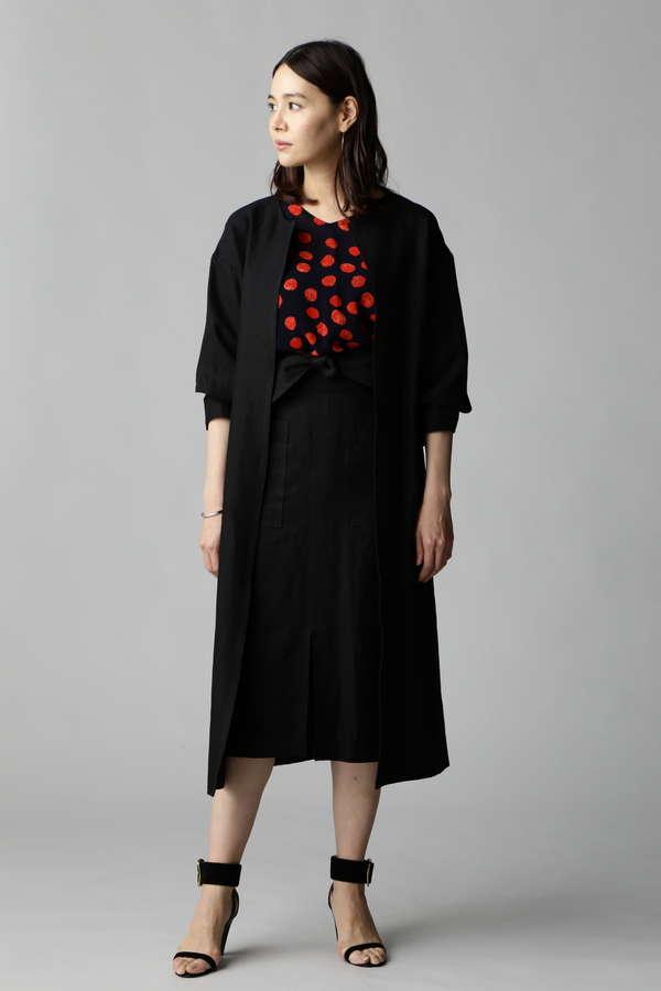 【MORE 4月号掲載】Unaca noir 配色ステッチコートワンピース