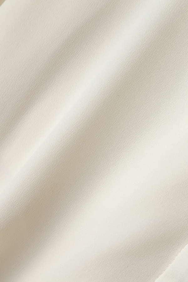 Unaca noir 袖リボンノーカラーブラウス