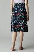 Unaca noir レーヨンツイル花柄スカート