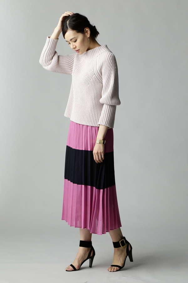 【STORY 4月号/MORE 5月号掲載】Unaca noir 配色切替プリーツスカート