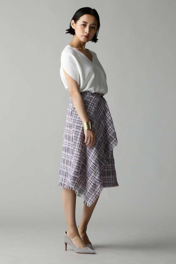 Unaca サマーツイードフリンジスカート