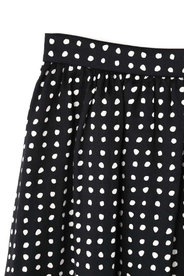 【スタイリング特集】Unaca noir パネル水玉プリントマキシ丈スカート
