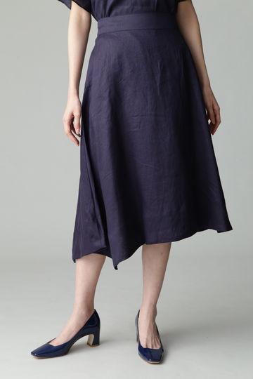 【セットアップ対象商品】Unaca リネンアシンメトリースカート
