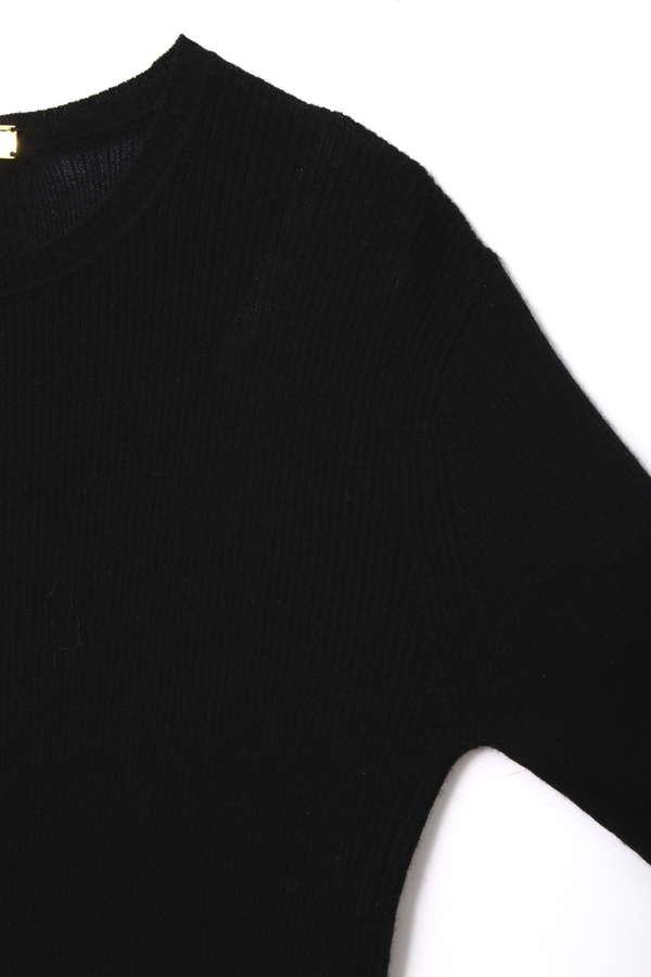 Unaca noir カシミアリブクルーネックニット