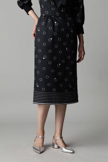 Unaca noir リングプリントスカート(セットアップ対象商品)