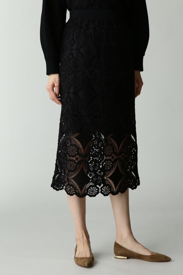 Unaca noir レースニットスカート