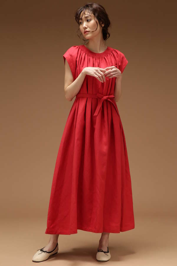 ハンドギャザーロングドレス