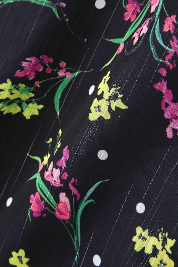 Unaca フラワープリント裾ギャザースカート