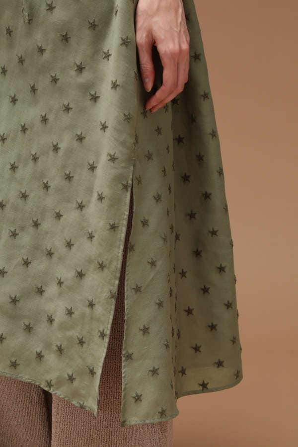 星刺繍シャツワンピース