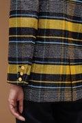 Unaca noir ゴールドボタンチェックジャケット
