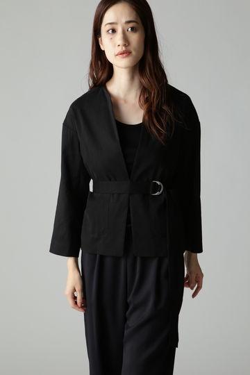 Unaca noir パッチポケットノーカラージャケット