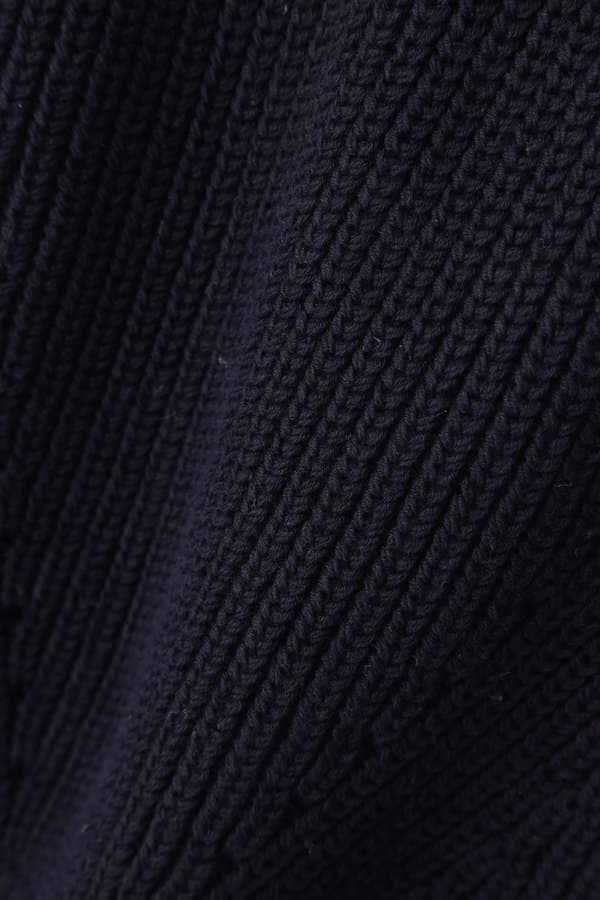Unaca noir ヘムデザイン畦編みニットプルオーバー