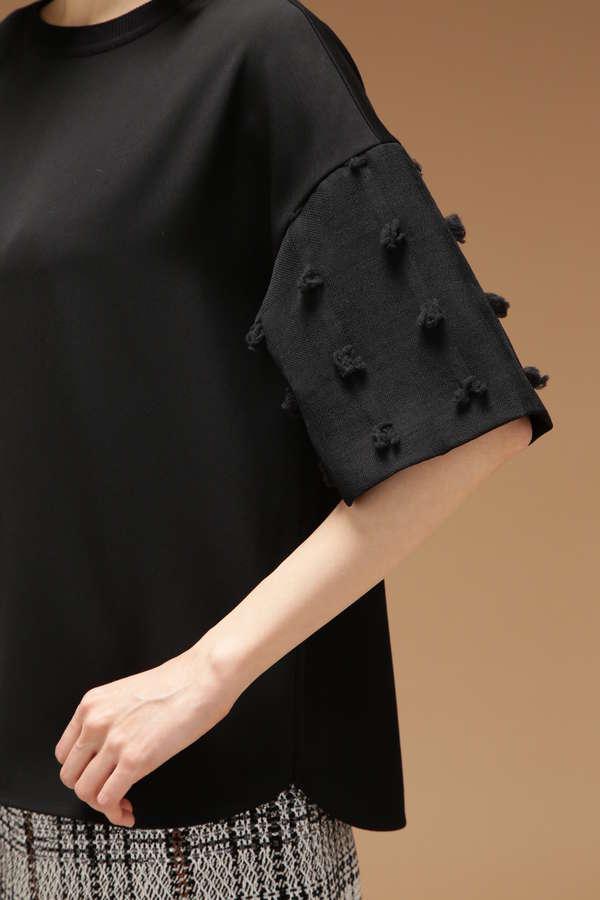Unaca noir 袖カットジャカードTシャツ