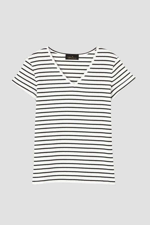 リブVネックTシャツ