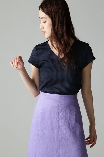 Unaca noir リブVネックTシャツ