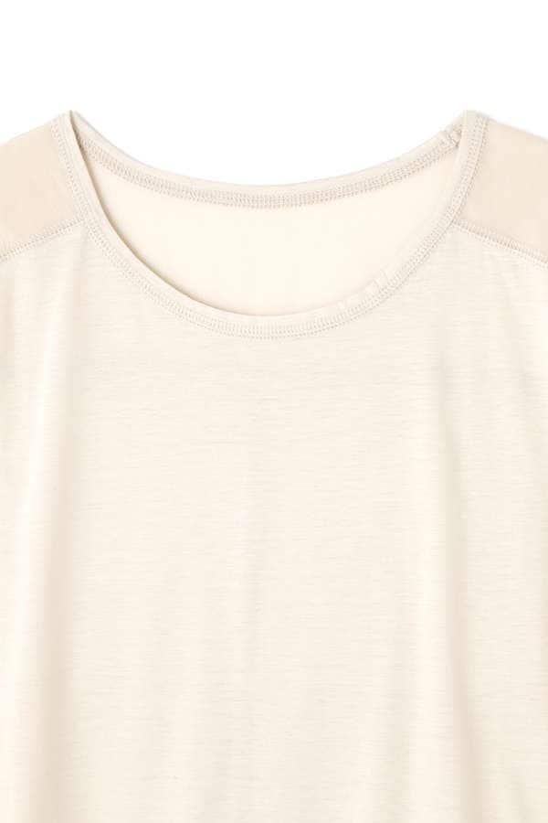 オーガンジー切替えノースリーブTシャツ