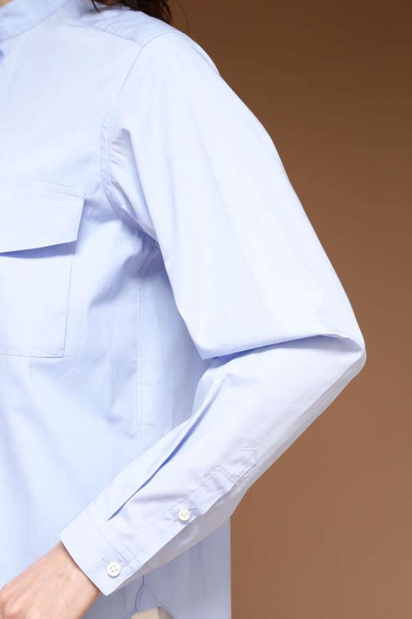Luxluft バンドカラーブロードシャツ