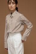 DIRECTOIRE ストライプフロントタックシャツ