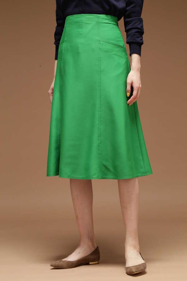 Unaca カラーサテンフレアースカート